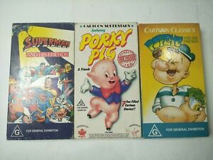 Vintage-vhs-Bundle-cartoons-popeye-porky-pig-and-superman-and-friends
