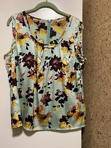 St-John-Floral-Silk-Sleeveless-Tank-Top-Sz-M-Floral-Womens