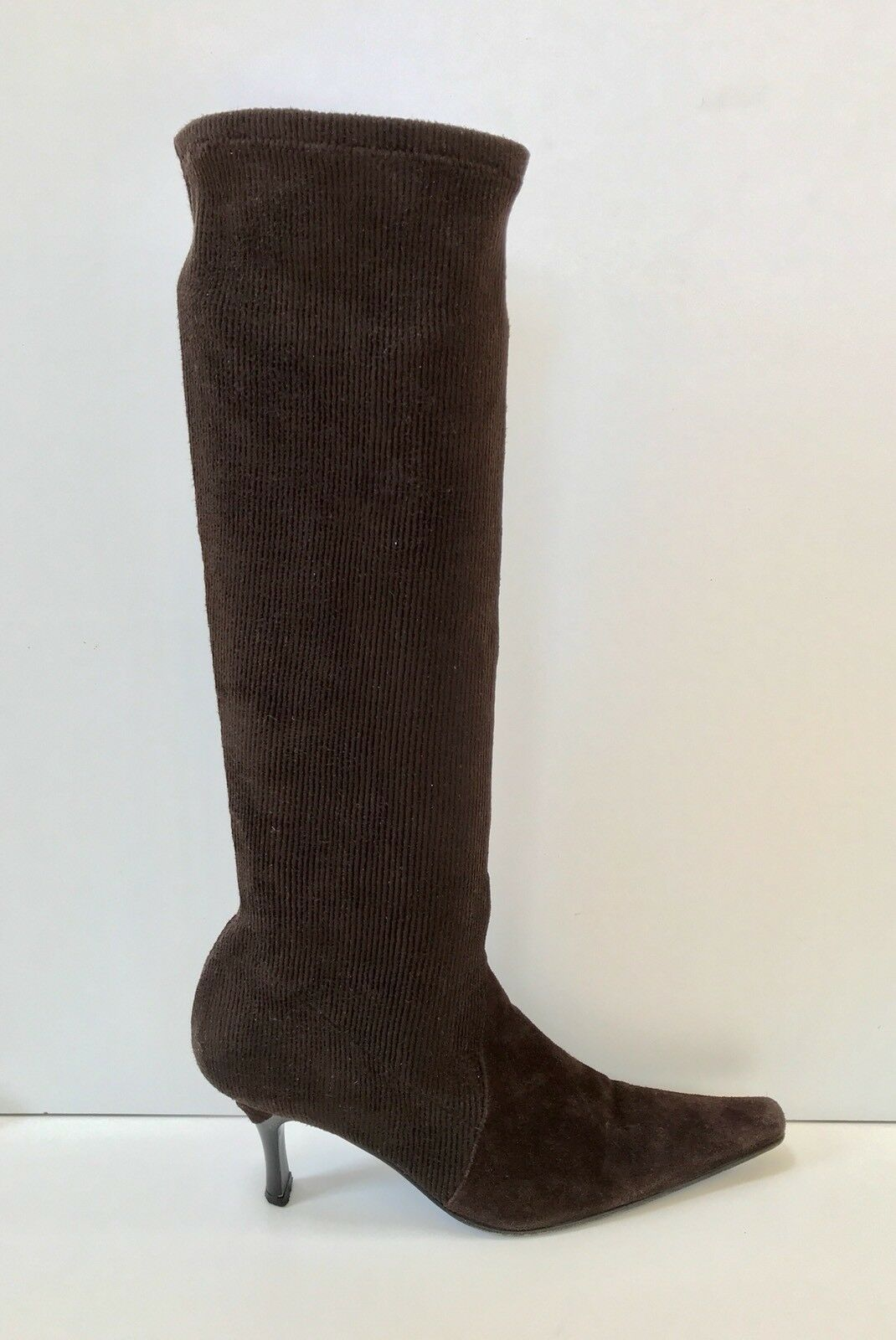 Casadei SZ 7 Brown Stretch Fabric & Suede Pull On Boot EUC