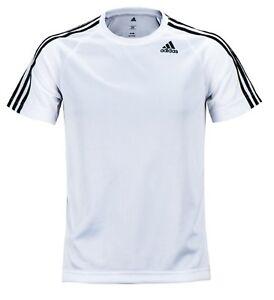 Adidas Men D2M 3-Stripes Shirts S S Training Jersey White Tee GYM ... 5bfeb933c1f28