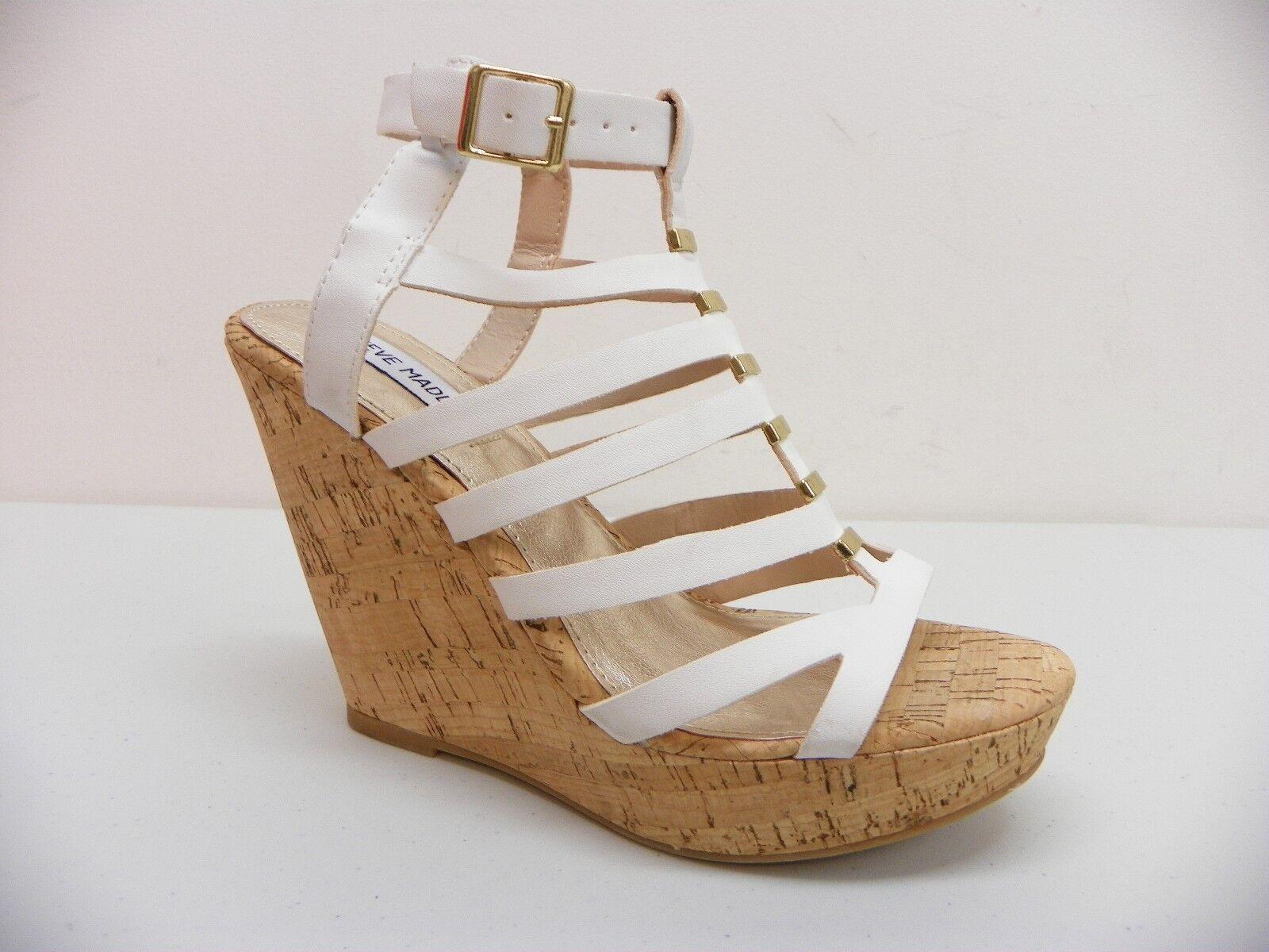 Steve Madden Sandal Indyanna Open Toe Ankle Strap Platform Wedge White 8M