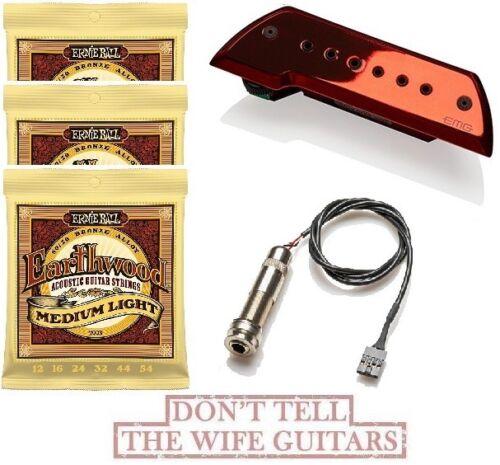 3 ERNIE BALL SET EMG ACS RED CHROME BAJO ROJO CHROMO Acoustic Guitar Bajo Sexto