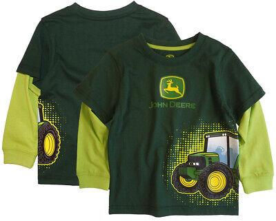 NEW John Deere Heather Gray Long Sleeve Tractor T-Shirt Sizes 12M,18M,