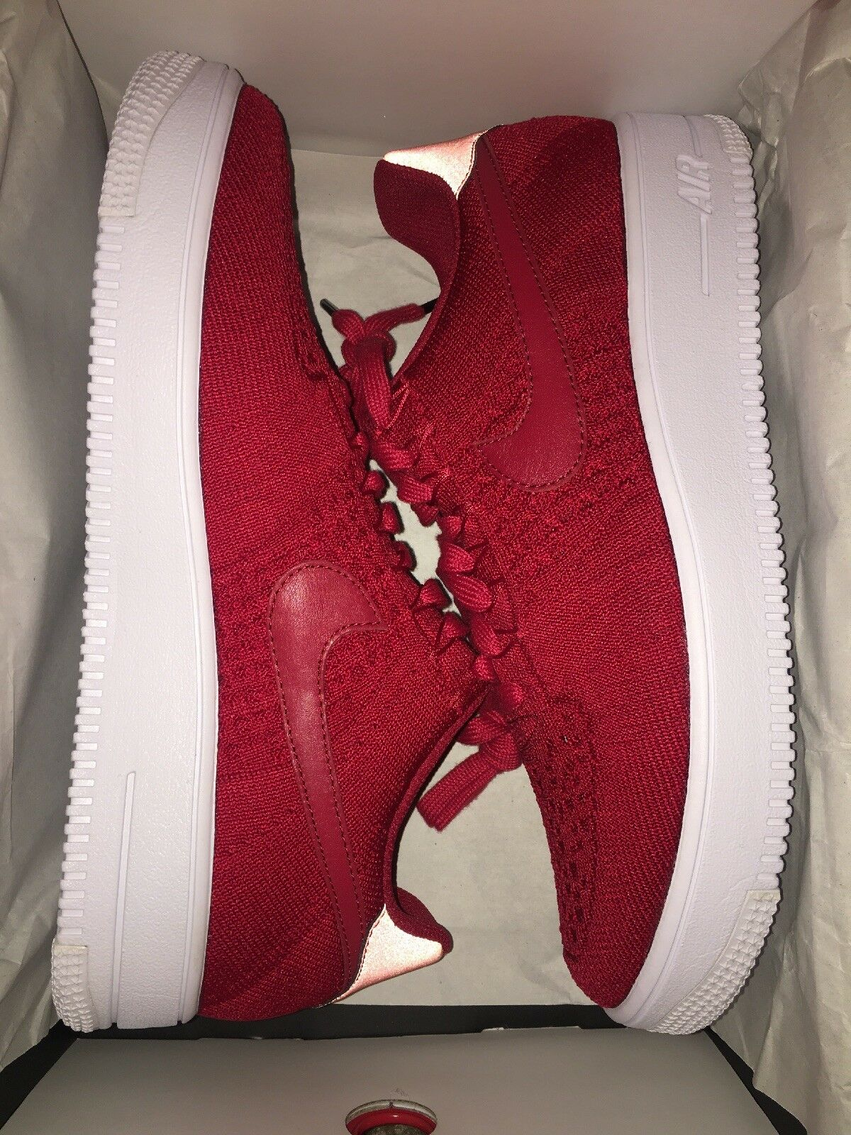 Nike Mens New Af1 Flyknit 826577-600 White Red Gym 10 5 Size