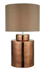 Design-Led-Lamp-Bronze-Ceramic-Cloth-Screen-Brown-H63cm-Table-Lamp-Nightlight