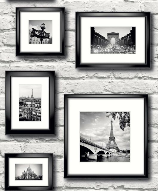 Paris White Brick Wall in Frames Feature Wallpaper 77209 by Muriva ...