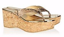 JIMMY CHOO Paque Beige-Brown Snakeprint Leather Cork Wedge Sandals 40/9.5 ~BNIB!