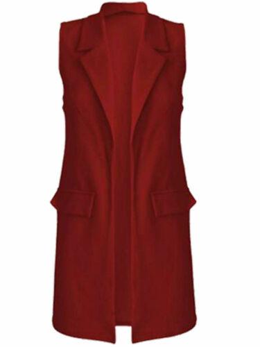 Women/'s Plus Size senza maniche Crepe Mock tasca Lunga Giacca Blazer Gilet Top