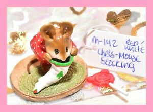❤️Wee Forest Folk M-142 Chris-Mouse Stocking Tree Christmas Red White Mouse❤️