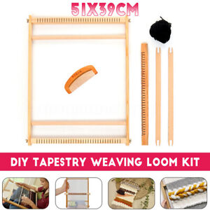 Details About Weaving Loom Kit Looms Wooden Tapestry Hand Knitted Machine Diy Craft Woven Set
