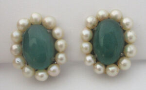 Vintage Cultured Pearl/Jade-Green Glass Cabochon Earrings