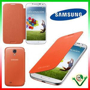 PELLICOLA-Custodia-originale-Samsung-per-Galaxy-S4-i9505-Flip-Cover-ARANCIONE