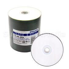 100 PHILIPS Blank 52x CD-R White Inkjet Metalized HUB Printable Disc Duplication