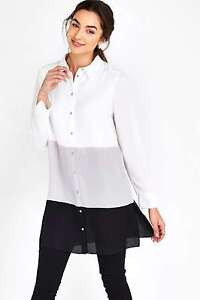 8d16bed376d7 Image is loading Ex-Wallis-Ladies-Monochrome-Colour-Block-Shirt-Blouse-
