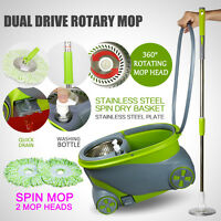 360° Rotating Spinning Mop Stainless Steel Spin-dry Bucket W/2 Mop Head Green