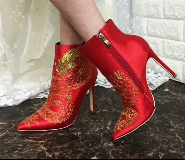 Womens Stiletto High Heel Pointed Toe Red Ethnic Ankle Boots Vogue shoes Winter