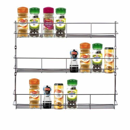 3 Tier Chrome Spice Herb Jar Rack Holder Storage Wall Mountable Cupboard
