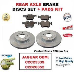 FOR JAGUAR OEM: C2C25339 C2D26352 REAR AXLE BRAKE PADS + DISCS SET 326mm Vented