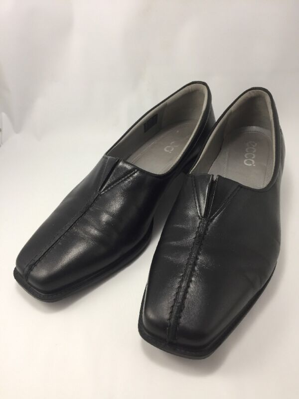 Good Ecco Womens Sz 37 Us 7.5-8 Black Leather Slip On Loafers Pumps
