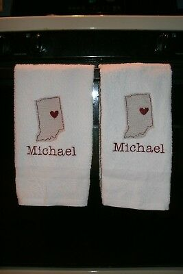 Indiana Heart Sketch State Personalized Dish Kitchen Hand Towels ANY STATE