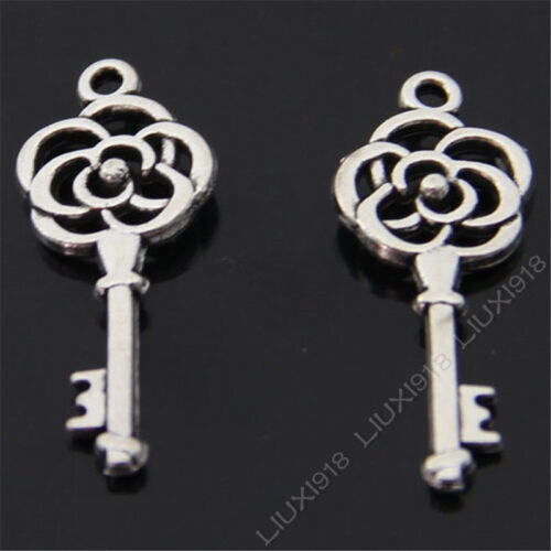 20pc Retro Tibetan Silver Rose Key Pendant Charms Beads DIY Findings 268AF