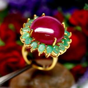 NATURAL-18X20mm-CABOCHON-RED-RUBY-amp-GREEN-EMERALD-RING-925-STELRING-SILVER-SZ6-5
