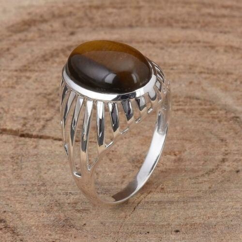Details about  /925 Sterling Silver Certified Handmade Tiger Eye Gemstone Christmas Unisex Ring