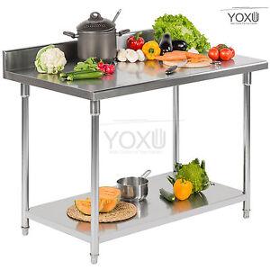 Piano di lavoro banco da lavoro tavolo professionale acciaio inox cucina ebay - Piano lavoro cucina acciaio ...