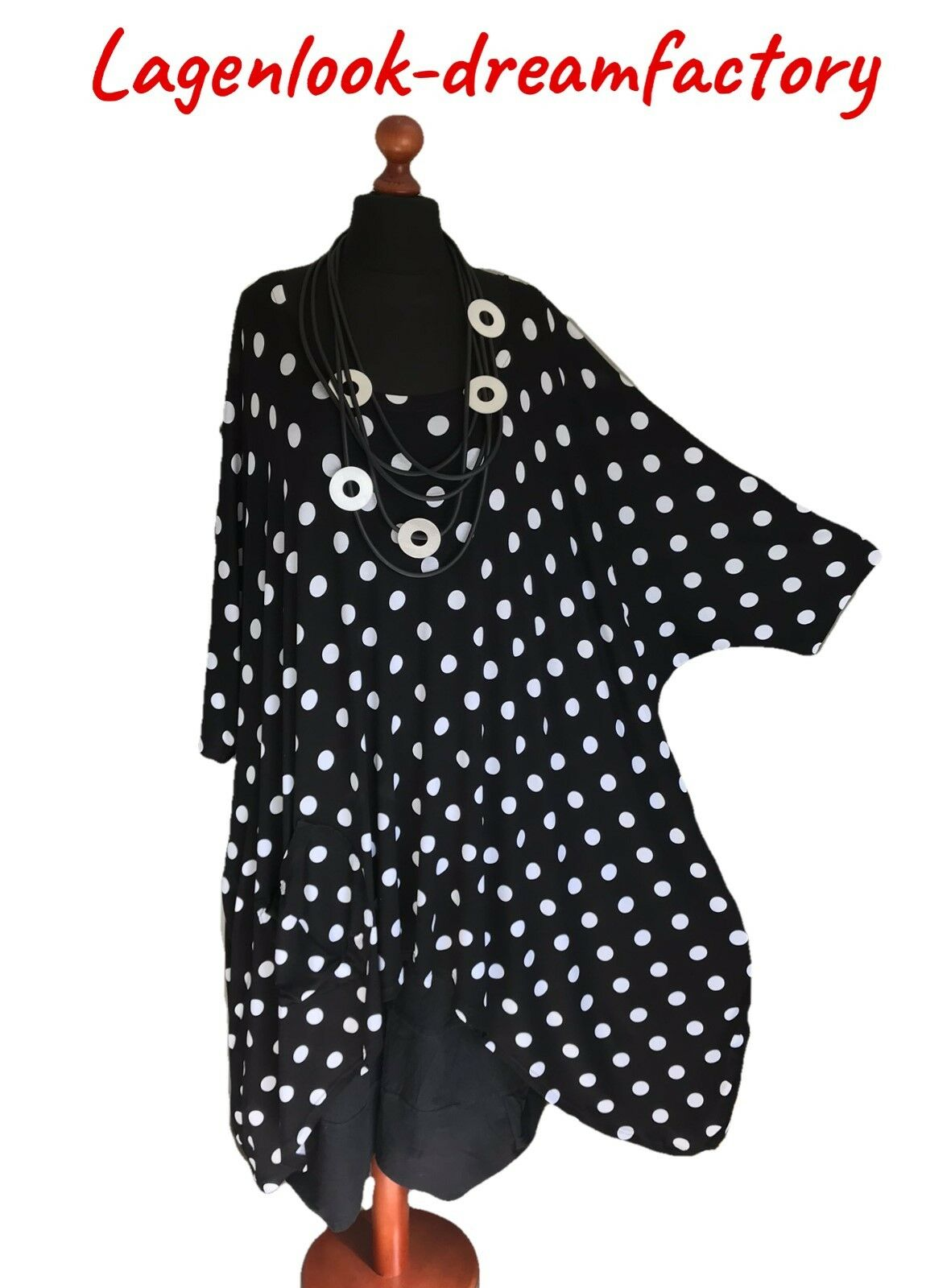 My Obsession ° ° ° Look a Strati Ballon-Kleid-Tunika Bianco-Nero ° POIS ° XXL, 4xl, f4a650