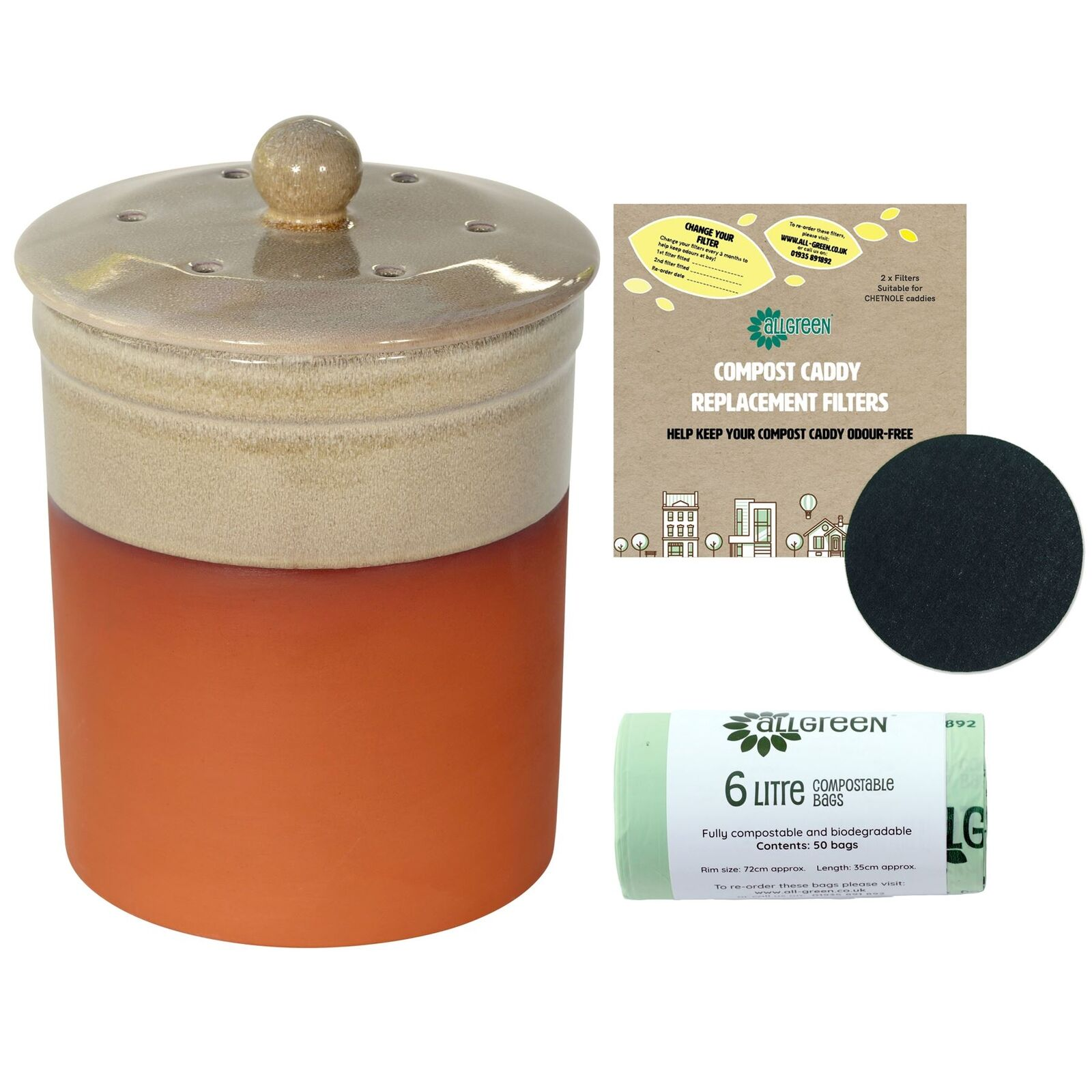 Chetnole Terracotta Ceramic Caddy-Sand-2xFilters&50x6L Compostable Bags
