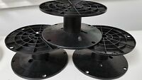 Lot Of 5 Black Plastic Spool Cable Wire Reel 6 1/2  Dia X 3 H With 3/4 Arbor