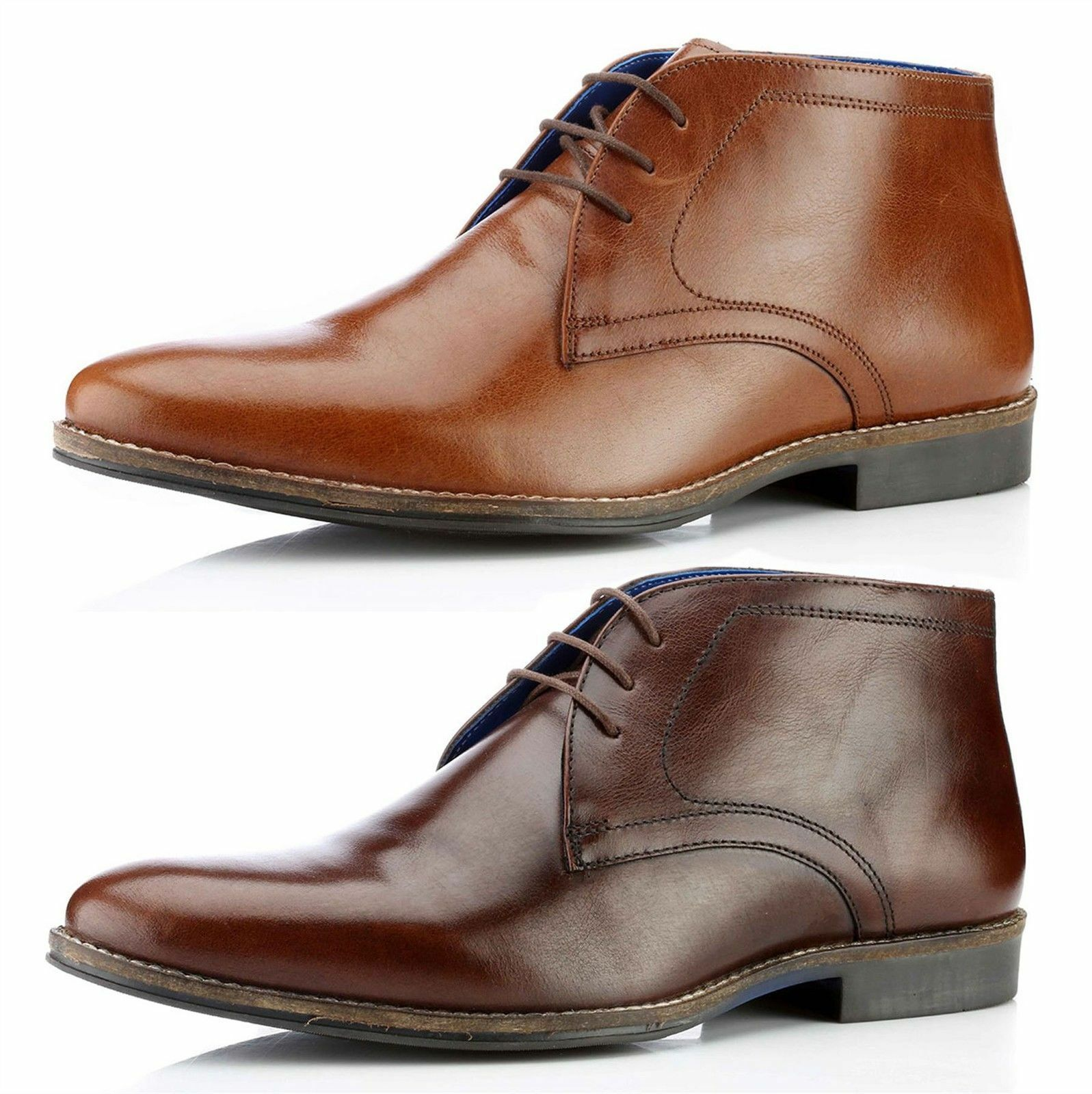 Red Tape Elstow Mens Lace Up Leather Ankle Boots Round Toe Brown Tan