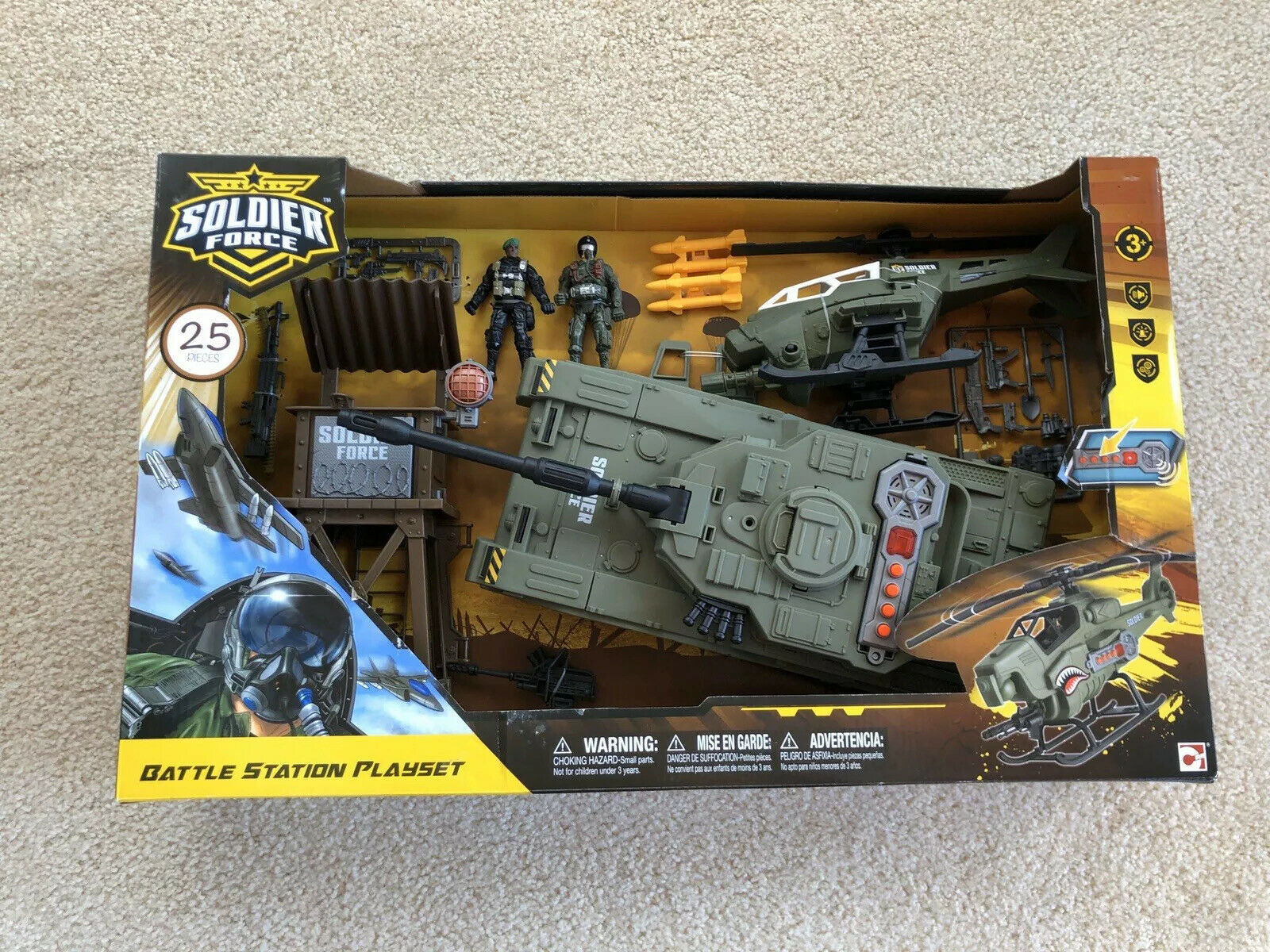 Soldier Force Battle Station Playset Tank Helicopter Chap Mei 25 Piece In Box