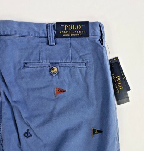 $98.50 POLO RALPH LAUREN ROPE-/&-FLAG STRAIGHT FIT STRETCH CHINO PANT BLUE NWT