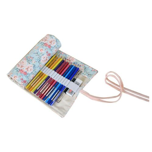 Canvas Pencil Wrap Bleistifte Roll Pouch Case Hold fuer 48 Buntstifte Blei G5V7