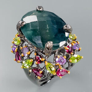 Handmade24ct-Natural-Fluorite-925-Sterling-Silver-Ring-Size-8-75-R86432