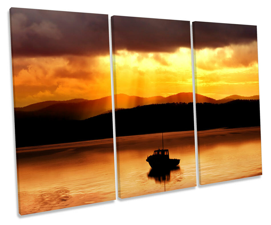 Fishing Boat Sunset Seascape TREBLE CANVAS WALL ART Box Framed Picture