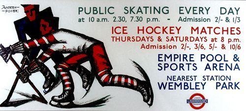 A2  Reprint 1930/'s Ice Hockey and Skating at Wembley Poster A3