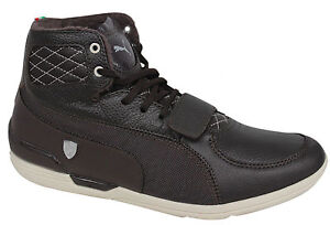 Puma-Driving-Power-2-Mid-SF-Ferrari-Mens-Trainers-Brown-Leather-304757-02-D5