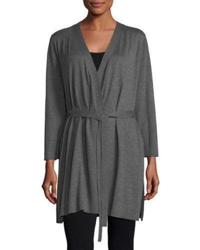 Eileen Fisher Tencel Cotton Silk Simple Cardigan w  Tie Waist, Ash LARGE NWT