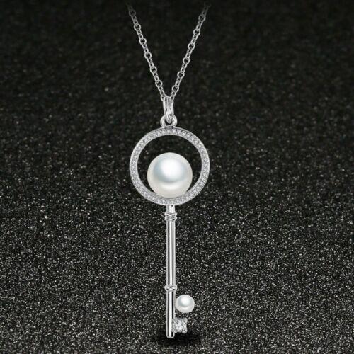 Cadeau Spécial Conception Clés Blanc Naturel PEARL Gemstone Silver Collier Pendentifs