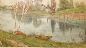 Listed-Artist-Benjamin-Lander-Hand-Colored-Etching-Titled-034-Birch-Lake-034