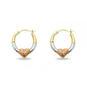 Small-Round-Heart-Hoop-Earrings-14k-Yellow-White-Rose-Gold-Diamond-Cut-Polished