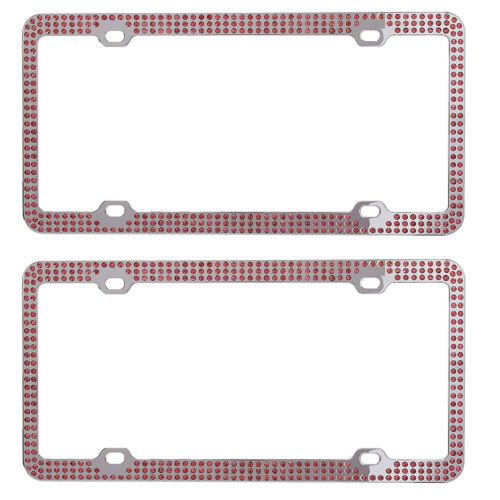 Metal Embedded Diamond License Plate Frame 3 Row Bling Pink Rhinestone Frame