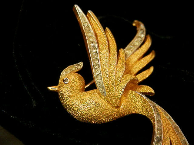Rare Vintage 50's Cgold Craft AS IS Beautiful gold Tone Rhinestone Brooch 330a7