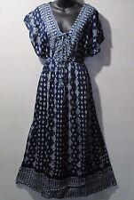 Maxi Dress Fits L XL 1X 2X 3X Plus Tunic Blue Lace Tie Chest Sundress NWT 6363
