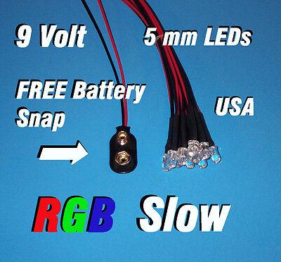 5 x LED Pre wired 12v 3mm RGB LEDs Prewired 12 volt Slow Auto Change 9v 6v