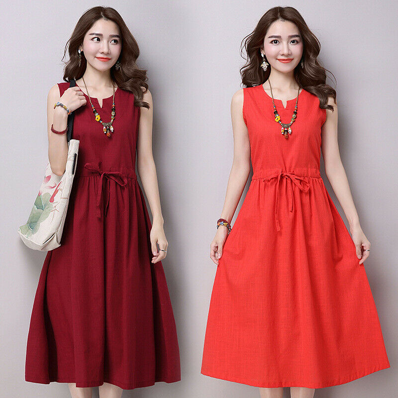 Womens Slim Fit Sleeveless Cotton Linen A-Line Dresses Casual Ethnic Summer 2019