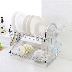 Image is loading 2-Tier-Stainless-Steel-Plate-Dish-Rack-Drainer- & 2 Tier Stainless Steel Plate Dish Rack Drainer Drying Rack Space ...