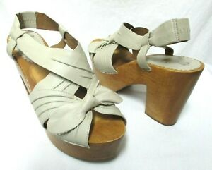 Miss-Albright-Anthropologie-leather-Wood-Clog-Sandals-w-Bow-platform-Size-Sz-9